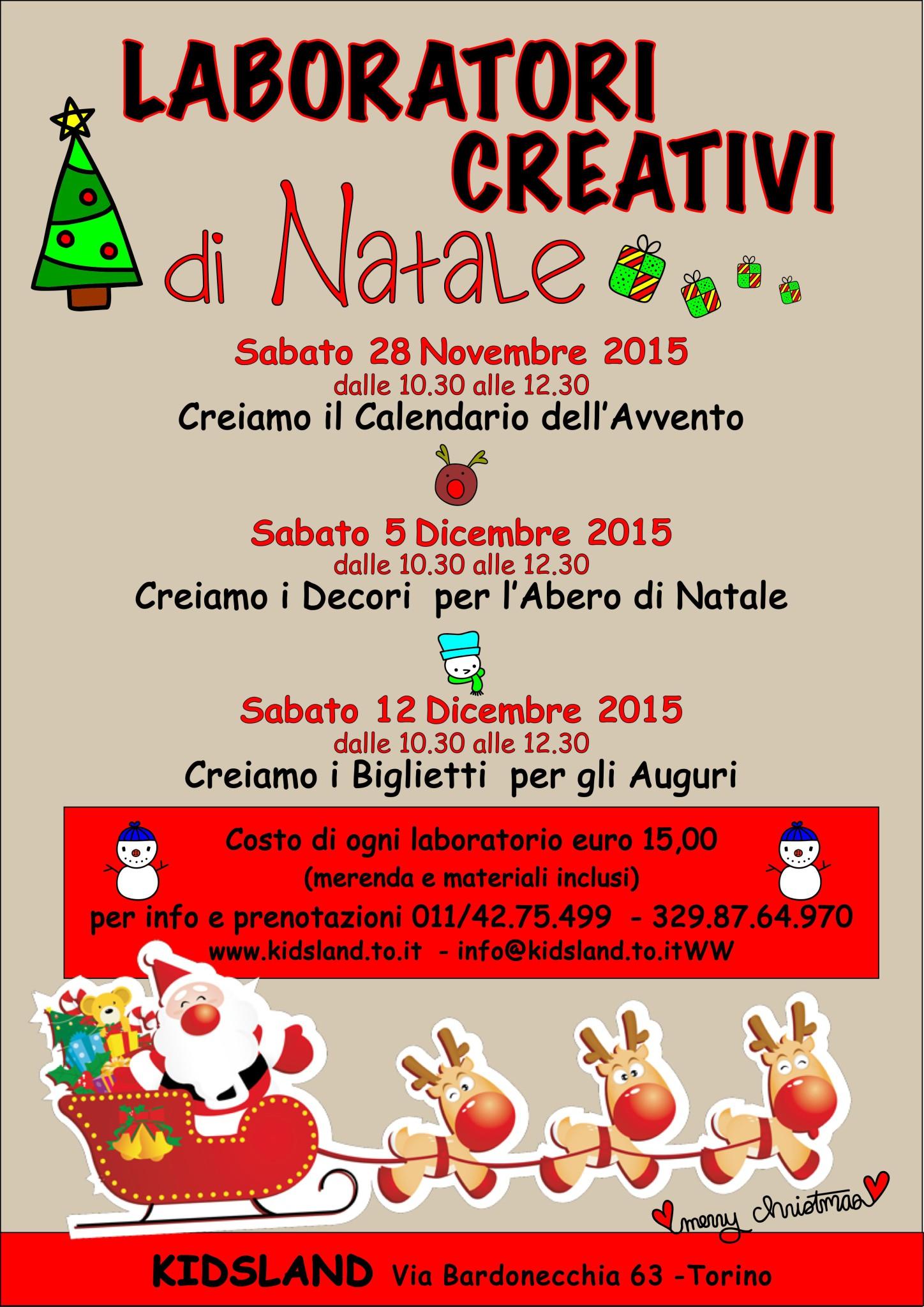 Ben noto Laboratori di Natale - Kidsland divertimento per bambini a Torino HZ26